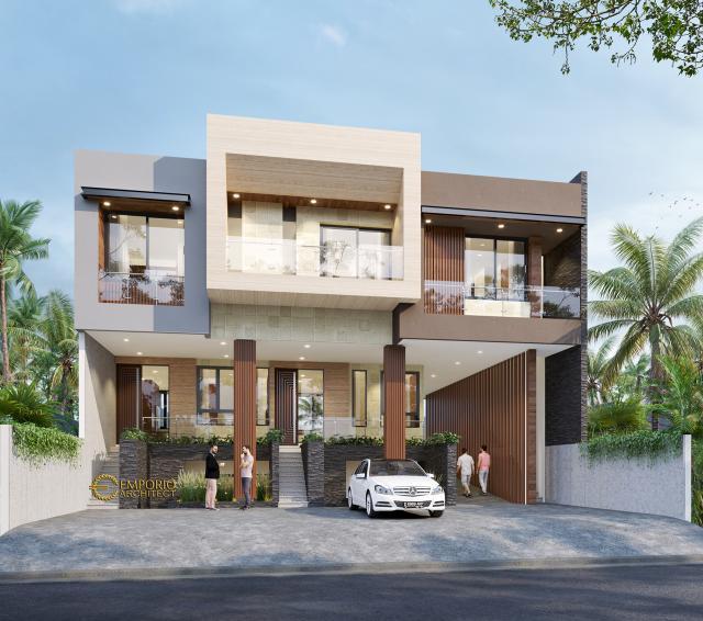 Desain Apartemen Modern 3 Lantai Ibu Fei-Fei di Bandung, Jawa Barat - Tampak Depan