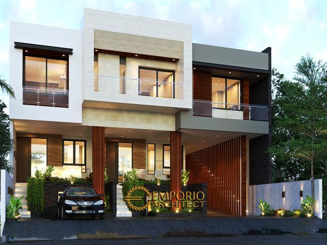Desain Tampak Depan 2 Apartemen Modern 3 Lantai Ibu Fei-Fei di Bandung, Jawa Barat