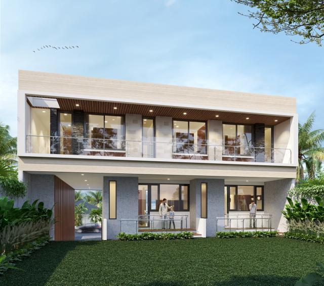Desain Tampak Belakang 2 Apartemen Modern 3 Lantai Ibu Fei-Fei di Bandung, Jawa Barat