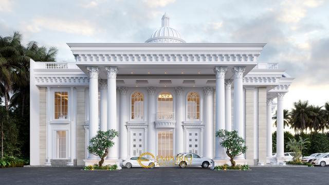 Desain Tampak Depan Convention Hall Classic 2 Lantai Bapak Yudi di Jambi