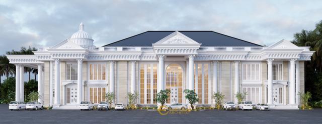 Desain Tampak Samping Kanan Convention Hall Classic 2 Lantai Bapak Yudi di Jambi
