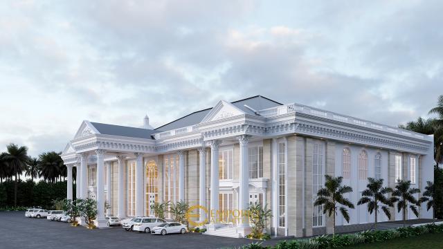 Desain Tampak Belakang Convention Hall Classic 2 Lantai Bapak Yudi di Jambi