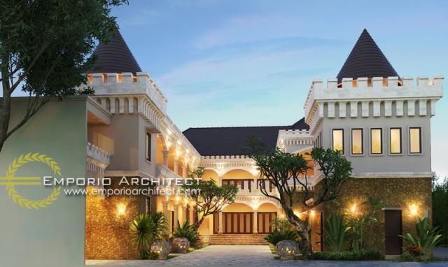 Desain Exterior Hotel Villa Bali 2 Lantai Bapak Yudi di Bali