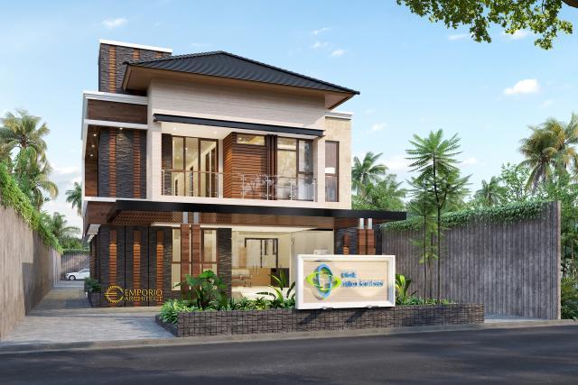Desain Klinik Mitra Santosa Modern 2 Lantai di Bandung, Jawa Barat - Tampak Depan