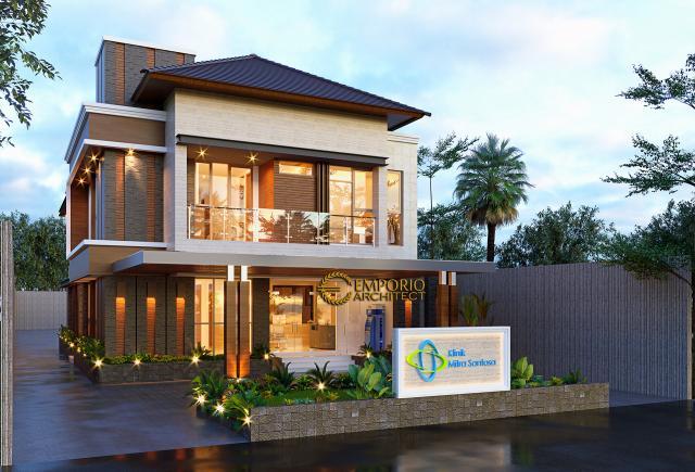 Desain Tampak Depan 2 Klinik Mitra Santosa Modern 2 Lantai di Bandung, Jawa Barat