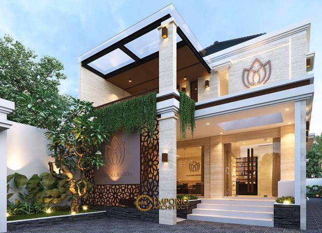 Desain Tampak Detail Depan Najmina Beauty Care Modern 2 Lantai di Blora, Jawa Tengah