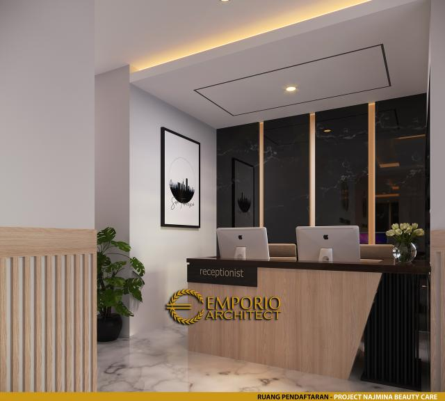 Desain Ruang Pendaftaran Najmina Beauty Care Modern 2 Lantai di Blora, Jawa Tengah