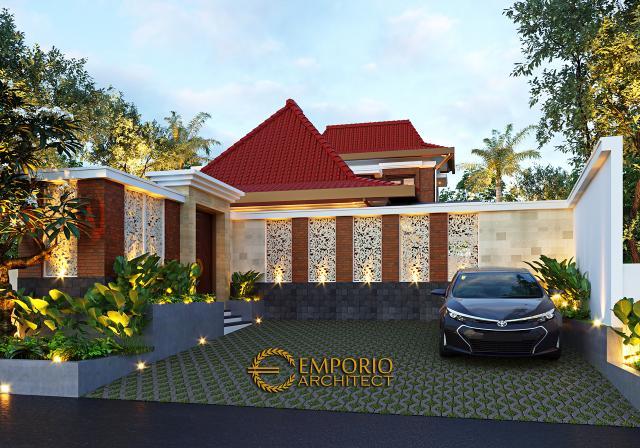 Desain Tampak Depan Pendopo Klasik Jawa 2 Lantai Bapak Erwin di Cibubur, Jakarta Timur