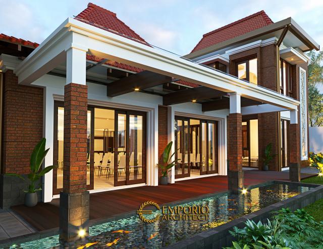 Desain Tampak Samping Kiri Pendopo Klasik Jawa 2 Lantai Bapak Erwin di Cibubur, Jakarta Timur