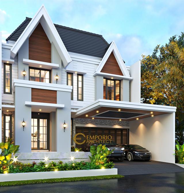 Desain Rumah American Classic 2.5 Lantai Bapak Bowo di Tegal, Jawa Tengah - Tampak Depan
