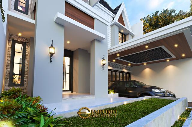 Desain Tampak Detail Depan Rumah American Classic 2.5 Lantai Bapak Bowo di Tegal, Jawa Tengah