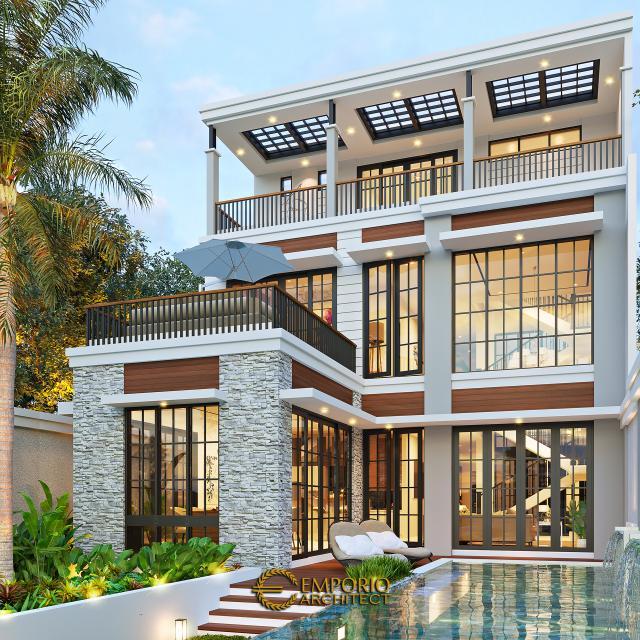 Desain Tampak Belakang Rumah American Classic 2.5 Lantai Bapak Bowo di Tegal, Jawa Tengah