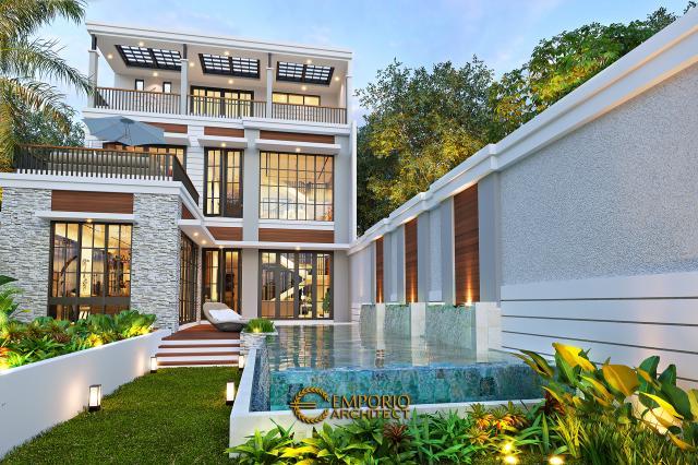Desain Tampak Detail Belakang 1 Rumah American Classic 2.5 Lantai Bapak Bowo di Tegal, Jawa Tengah