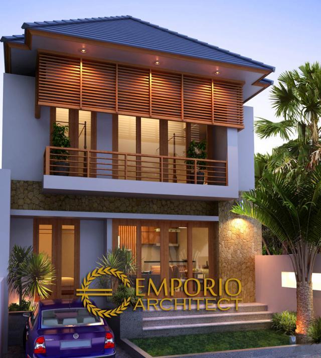 Desain Exterior Rumah Villa Bali 2 Lantai Bapak Ari Sundoro di Denpasar, Bali