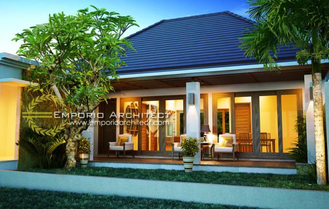 Desain Exterior 2 Rumah Villa Bali 1 Lantai Bapak Basuki di Lombok