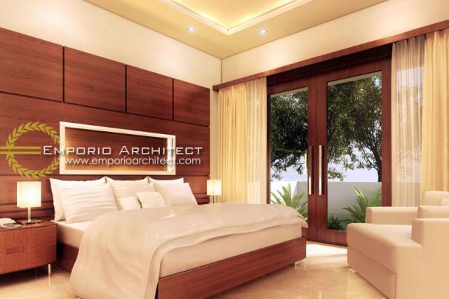 Desain Kamar Tidur Rumah Villa Bali 1 Lantai Bapak Basuki di Lombok