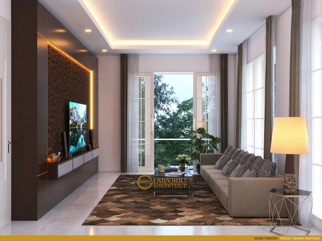 Desain Home Theater Rumah Classic 2 Lantai Bapak Hartono di Kalimantan Utara
