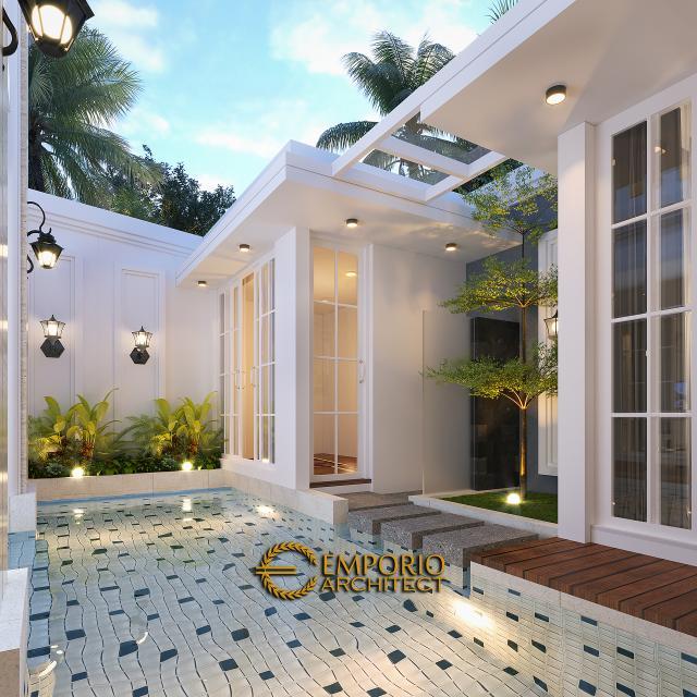 Desain Area Musholla dan Kolam Rumah Classic 2 Lantai Ibu Dian di Tangerang Selatan, Banten
