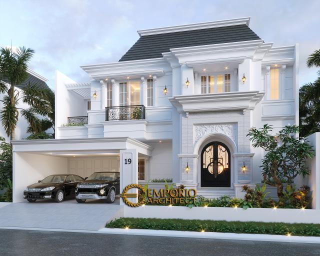 Desain Tampak Depan Rumah Classic 2 Lantai Bapak A di Bintaro, Jakarta