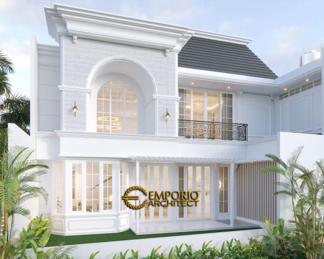Desain Tampak Belakang Rumah Classic 2 Lantai Bapak A di Bintaro, Jakarta