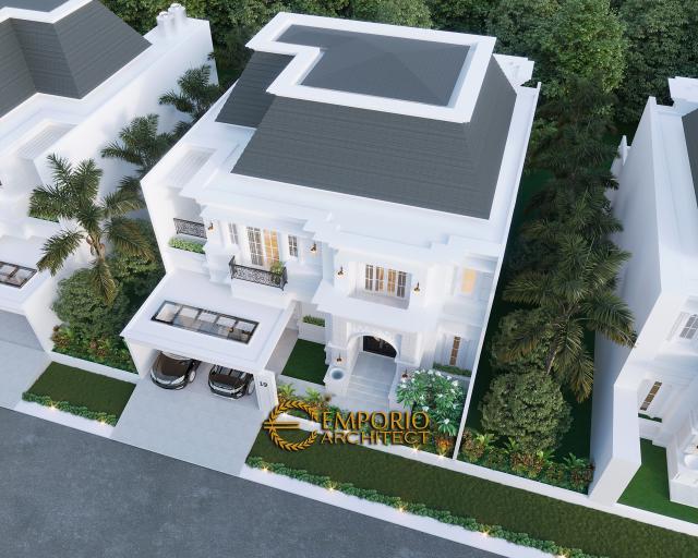 Desain Master Plan Depan Rumah Classic 2 Lantai Bapak A di Bintaro, Jakarta