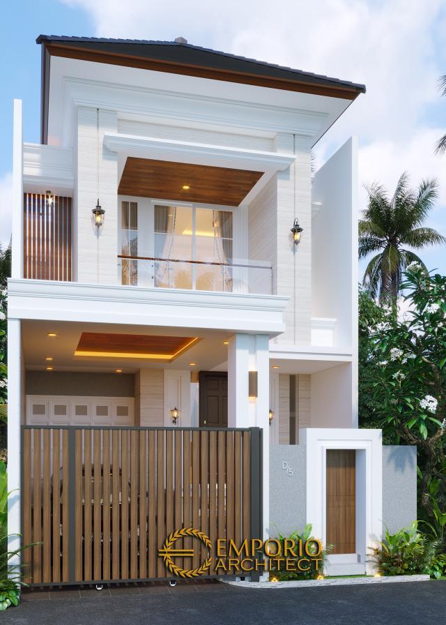 Desain Tampak Depan Dengan Pagar Rumah Classic 2 Lantai Bapak Riko di Bekasi, Jawa Barat