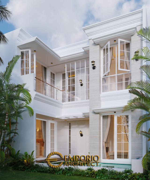 Desain Tampak Belakang Rumah Classic 2 Lantai Bapak Riko di Bekasi, Jawa Barat