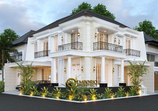 Desain Tampak Hook Rumah Classic 2 Lantai Bapak Ruddy di Jakarta Utara