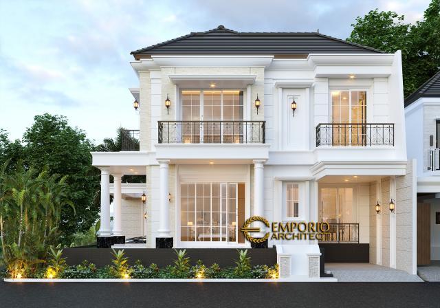 Desain Tampak Samping Rumah Classic 2 Lantai Bapak Ruddy di Jakarta Utara