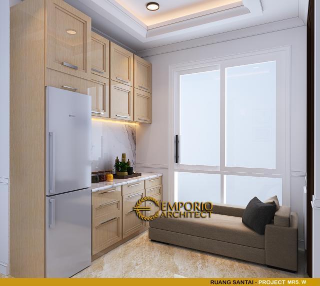 Desain Ruang Santai Rumah Classic 3 Lantai Mrs W di Jakarta