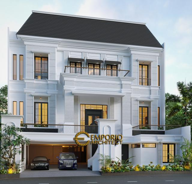 Desain Tampak Depan Tanpa Pagar Rumah Classic 3 Lantai Bapak Ahok di Jakarta