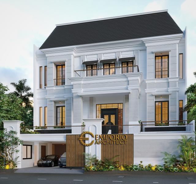 Desain Tampak Depan Dengan Pagar Rumah Classic 3 Lantai Bapak Ahok di Jakarta