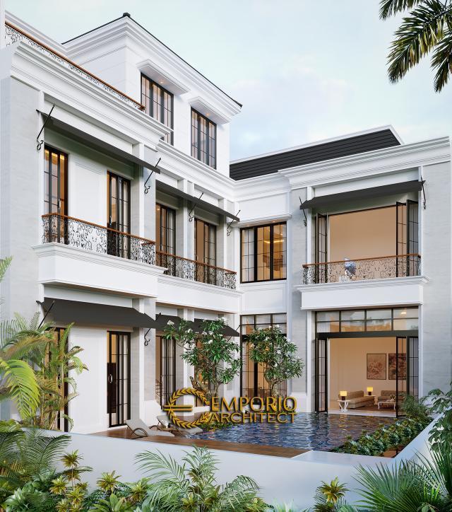 Desain Tampak Belakang Rumah Classic 3 Lantai Bapak Ahok di Jakarta