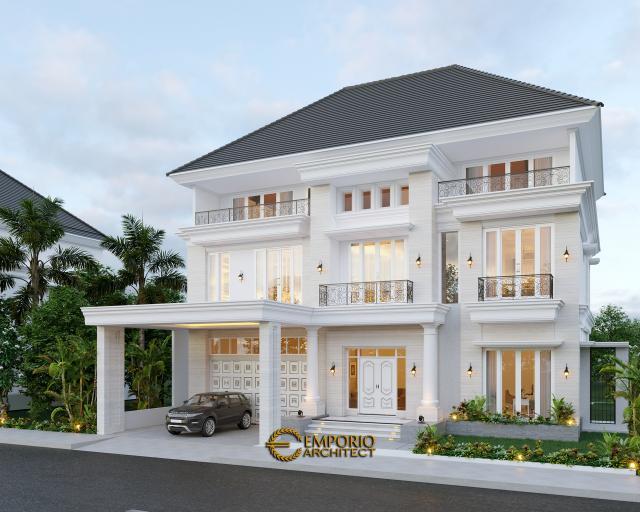 Desain Tampak Depan Rumah Classic 3 Lantai Bapak George Alexander di Riau