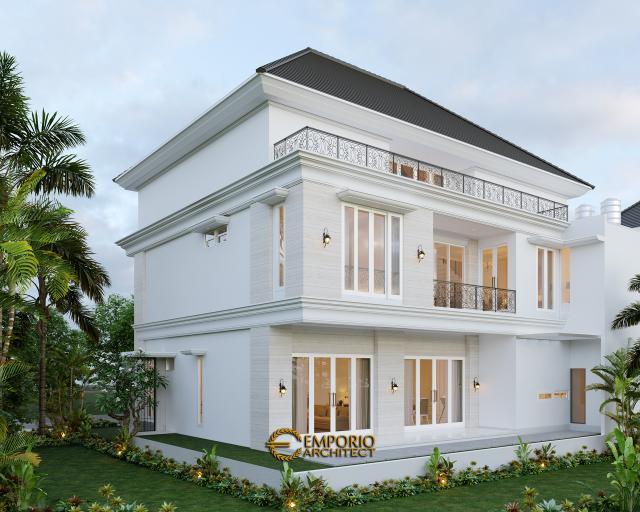 Desain Tampak Belakang Rumah Classic 3 Lantai Bapak George Alexander di Riau