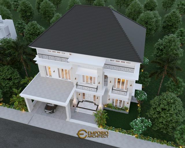 Desain Master Plan Tampak Depan Rumah Classic 3 Lantai Bapak George Alexander di Riau