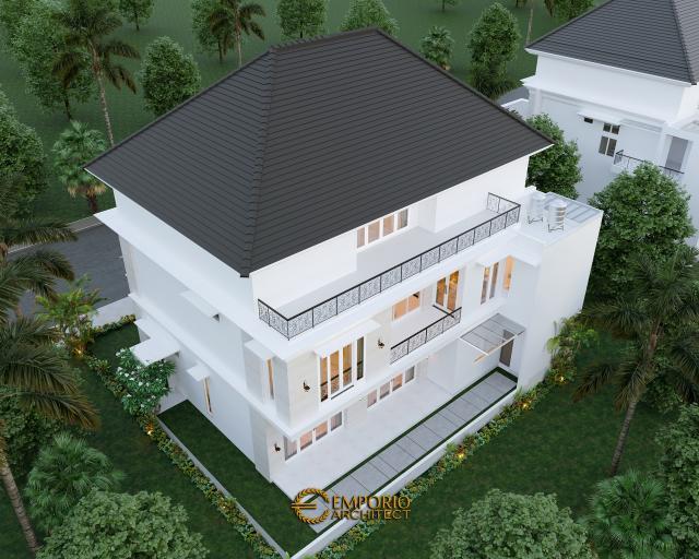 Desain Master Plan Tampak Belakang Rumah Classic 3 Lantai Bapak George Alexander di Riau