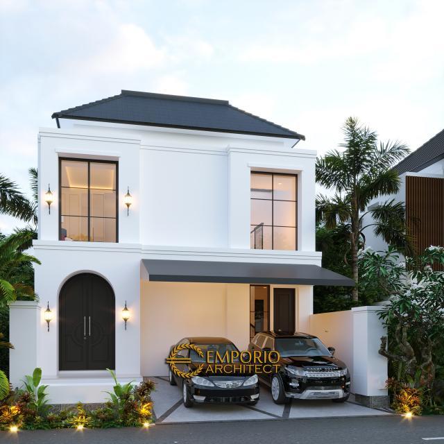 Desain Tampak Depan Tanpa Pagar Rumah Classic 2 Lantai Ibu Ica di Bandung, Jawa Barat