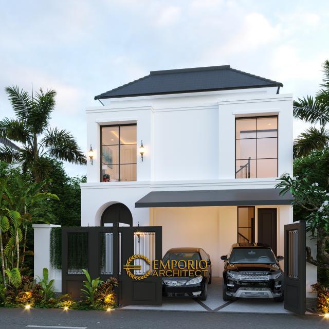 Desain Tampak Depan Dengan Pagar Rumah Classic 2 Lantai Ibu Ica di Bandung, Jawa Barat