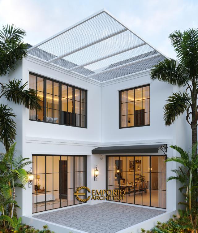 Desain Tampak Belakang Rumah Classic 2 Lantai Ibu Ica di Bandung, Jawa Barat