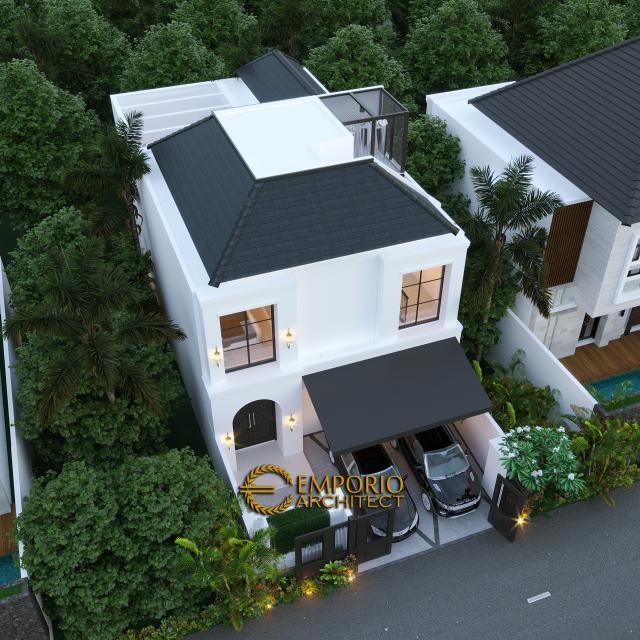 Desain Master Plan Tampak Depan Rumah Classic 2 Lantai Ibu Ica di Bandung, Jawa Barat
