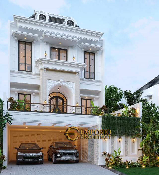 Desain Tampak Depan Rumah Classic 3 Lantai Ibu Tami di Jakarta Timur