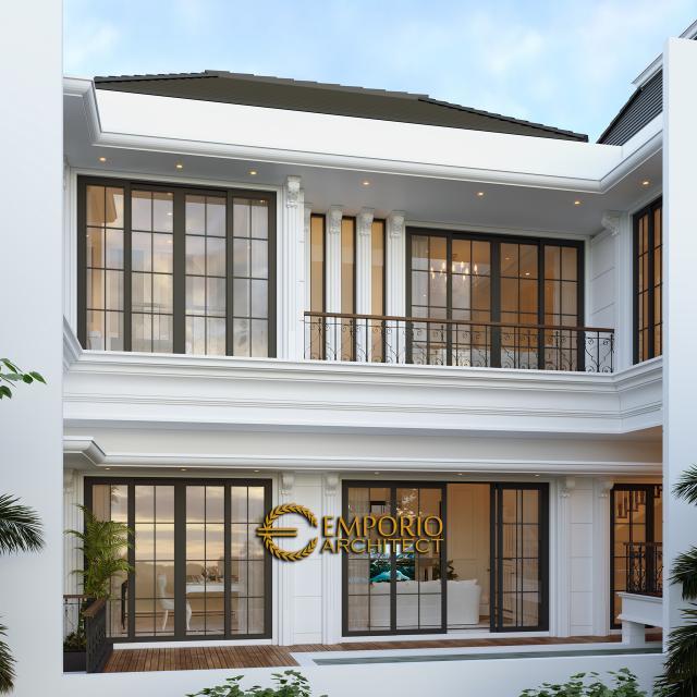 Desain Tampak Belakang Rumah Classic 3 Lantai Ibu Tami di Jakarta Timur