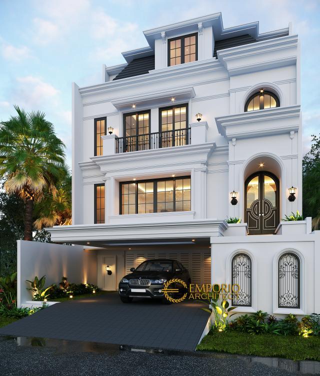 Desain Rumah Classic 3.5 Lantai Ibu Tien II di Jakarta Selatan - Tampak Depan