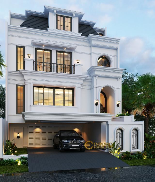 Desain Tampak Depan 2 Rumah Classic 3.5 Lantai Ibu Tien II di Jakarta Selatan