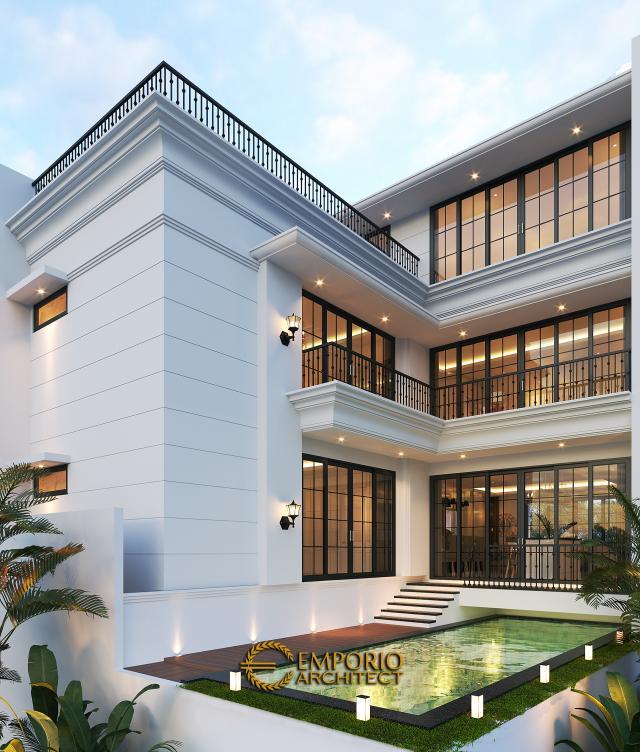 Desain Tampak Belakang Rumah Classic 3.5 Lantai Ibu Tien II di Jakarta Selatan