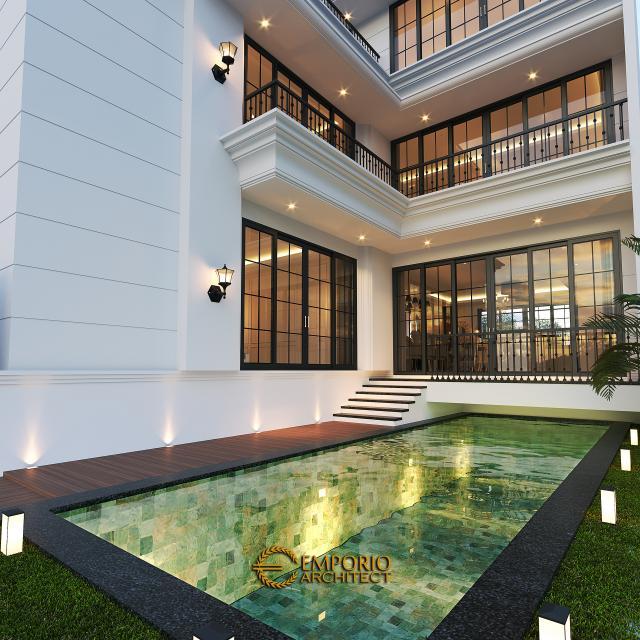 Desain Tampak Detail Belakang Rumah Classic 3.5 Lantai Ibu Tien II di Jakarta Selatan