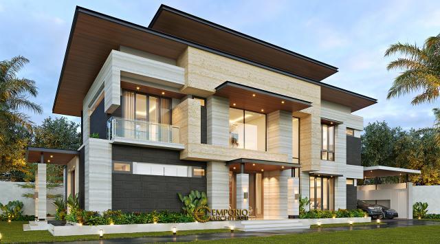 Desain Rumah Modern 2 Lantai Ibu Niar di Bekasi, Jawa Barat - Tampak Depan