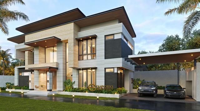 Desain Tampak Depan 2 Rumah Modern 2 Lantai Ibu Niar di Bekasi, Jawa Barat