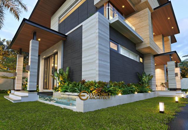 Desain Tampak Detail Depan Rumah Modern 2 Lantai Ibu Niar di Bekasi, Jawa Barat